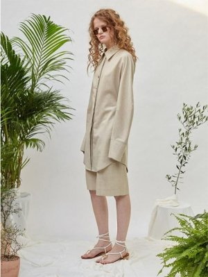 LOW CLASSIC Button Point Shirt - Light Beige │Curated Collections of Global Independent Designers