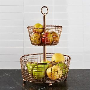 Bendt 2-Tier Copper Fruit Basket + Reviews | Crate and Barrel