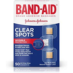 Amazon.com: Band-Aid Brand Clear Spots Discreet First Aid and Wound Care for Minor Cuts and Scrapes, All One Size, 50 ct: Health & Personal Care