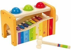 Amazon.com: Hape Pound & Tap Bench with Slide Out Xylophone - Award Winning Durable Wooden Musical Pounding Toy for Toddlers, Multifunctional and Bright Colours: Toys & Games