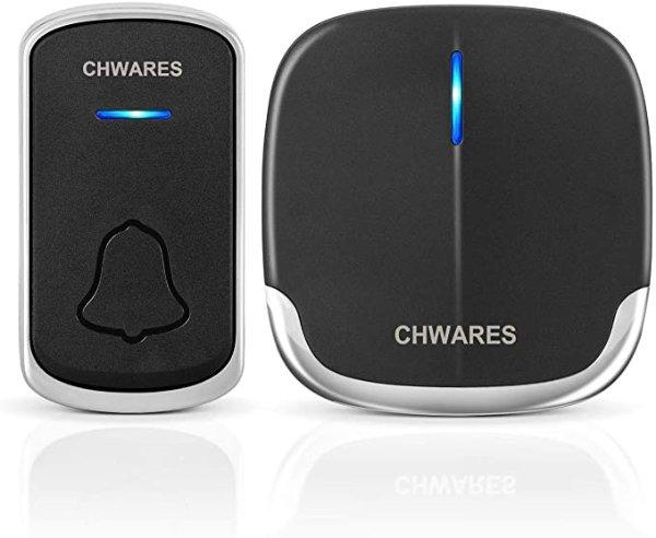 CHWARES 防水无线门铃 无须钻孔 直插式接收器