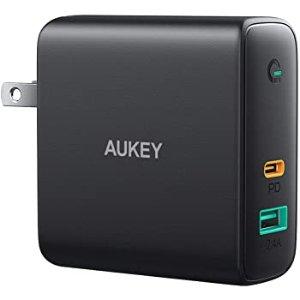 $17.11 GaN科技AUKEY Focus 60W USB A+C 双口充电器 60W PD3.0