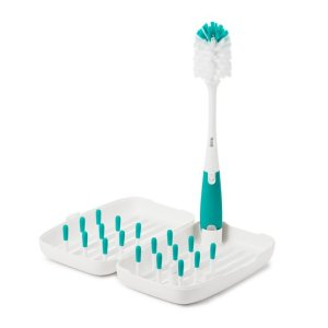 OXO Tot® On-The-Go Drying Rack with Bottle Brush in Teal | buybuy BABY