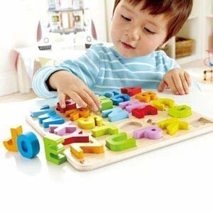 Amazon.com: Hape Alphabet Blocks Learning Puzzle | Wooden ABC Letters Colorful Educational Puzzle Toy Board for Toddlers and Kids, Multi-Colored Jigsaw Blocks: Toys & Games