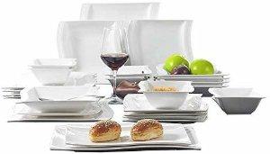 Amazon.com   Malacasa, 26-Piece Porcelain Dinnerware Set Ivory White China Ceramic Dinner Set with Cups Saucers Dessert Plates Soup Plates and Dinner Plates Dinnerware Set Service for 6: Dinnerware Sets