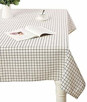 Amazon.com: AIYUE Rural Cotton Linen Table Cloths Table Cover Washable Decorative Table Top Cover for Dinner Kitchen/Parties/ Picnic, Geometric White Grid, 120120CM: Kitchen & Dining