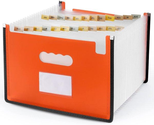 Yoassi 超大容量风琴扩展式24分隔带标签文件收纳袋