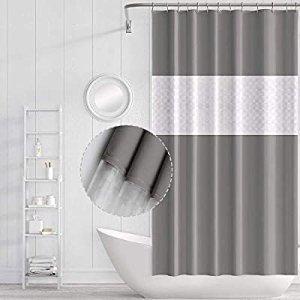 Funria EVA Shower Curtain Waterproof Bathroom Curtains with 12 Curtain Hooks