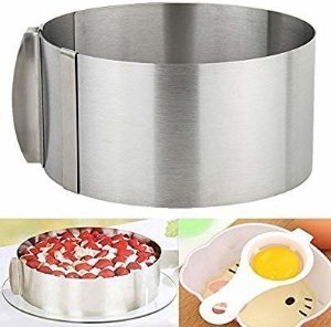 Amazon.com: 3 IN 1 Cake Ring Set 6 to 12 Inch Adjustable Retractable Stainless Steel Ankoow Circle Round Mousse Tiramisu Mold with 1PCS Egg White Separator 1PCS Cake Edge Smoother Decorating Scraper Cutter: Home & Kitchen