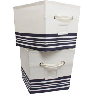 Walmart Mainstays Large Canvas Bins 2 Pack Nautical Stripe