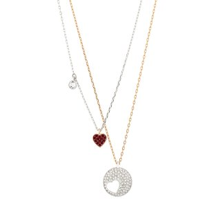 Swarovski Rhodium Plated And Yellow Gold Plated Crystal Necklace
