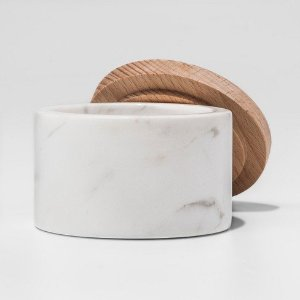 Marble Salt Box with Beechwood Lid - White - Threshold™ : Target