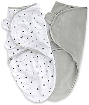 Amazon.com: Adjustable Swaddle Blanket Infant Baby Wrap 2 Pack Grey Stars + Solid Grey 0-3 Months: Gateway