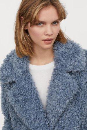Faux Fur Jacket - Dusky blue - Ladies | H&M US