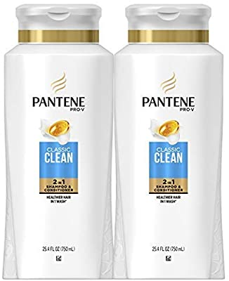 潘婷二合一洗发水两瓶装Pantene, Shampoo and Conditioner 2 in 1, Pro-V Classic Clean, 25.4 Fl Oz, Pack of 2: Beauty