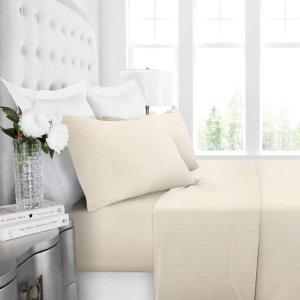 $5.36Noble Linen Hotel Collection 4 Piece Bed Sheet Set With Deep Pockets and Pinstripe Pattern by Italian Luxury