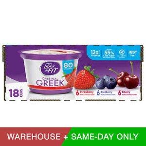Dannon Light & Fit Greek Yogurt, 5.3 oz, 18-count