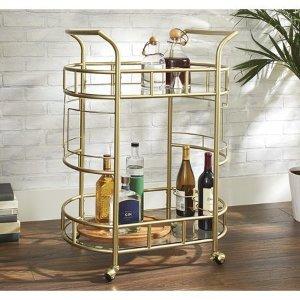 Better Homes & Gardens Fitzgerald 2-Tier Bar Cart, Gold - Walmart.com