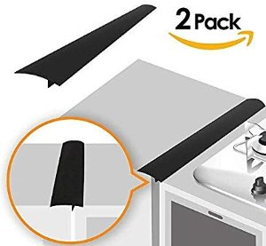 Amazon.com: Linda's Silicone Kitchen Stove Counter Gap Cover Long & Wide Gap Filler (2 Pack) Seals Spills Between Counters, Stovetops, Washing Machines, Oven, Washer, Dryer | Heat-Resistant and Easy Clean (Black): Home & Kitchen