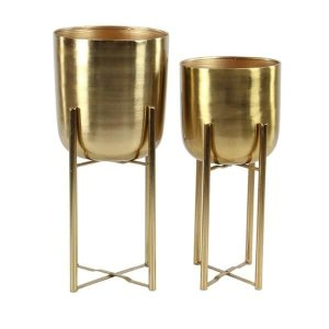 Shop Set of 2 Contemporary 19 and 22 Inch Gold Iron Planters with Stands - Free Shipping Today - Overstock.com - 20445327