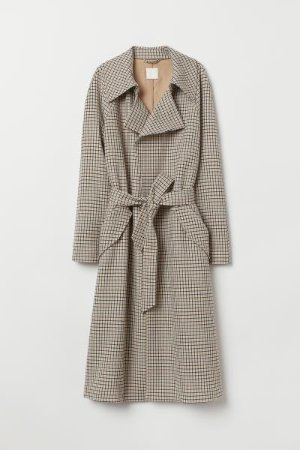 Trenchcoat - Beige/checked - Ladies | H&M US