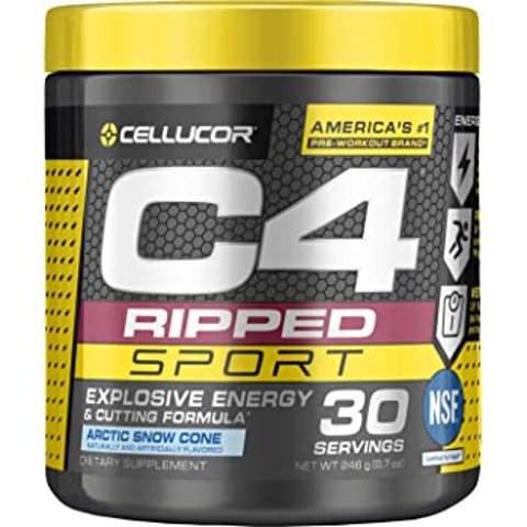 C4 Ripped Sport Pre Workout Powder Arctic Snow Cone   NSF Certified for Sport + Sugar Free Preworkout Energy Supplement for Men & Women   135mg Caffeine + Weight Loss   30 Servings