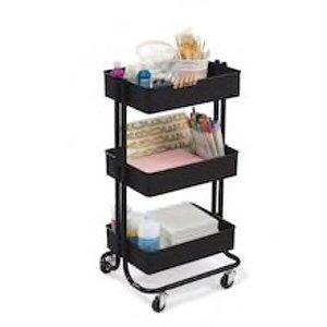 Lexington Matte Black 3-Tier Rolling Cart