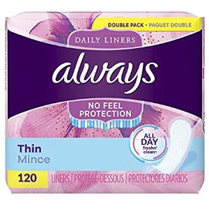 Always Thin Daily Liners, Regular Absorbency, 120 Count, Unscented, Wrapped