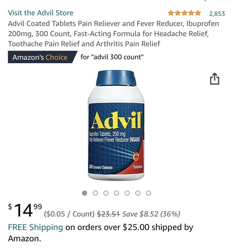 Amazon.com: Advil Coated Tablets Pain Reliever and Fever Reducer, Ibuprofen 200mg, 300 Count, Fast-Acting Formula for Headache Relief, Toothache Pain Relie 止痛药优惠