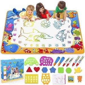 $12.08 发挥想象不怕脏超大尺寸多彩儿童魔力水画毯,附赠超多配件