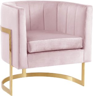Meridian Furniture Carter Pink Velvet Accent Chair | The Classy Home