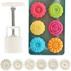 $9.99Lautechco 手压式花朵造型冰皮月饼模具 50g 6种花色