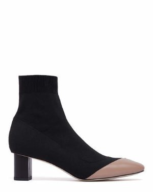 DON - SQUARE TOE BLOCK HEEL SOCK BOOTIES | BOOTS | All Shoes | Pedder Red