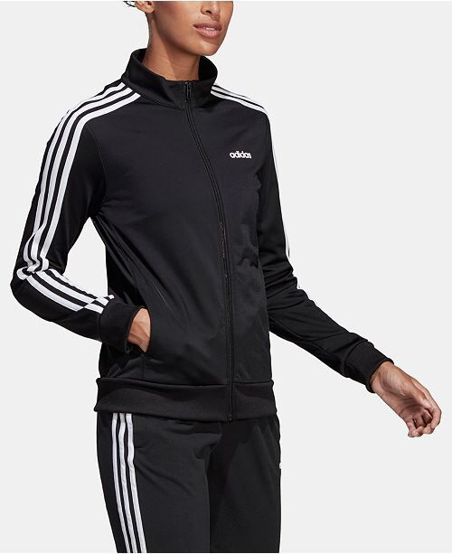 adidas Women's Essential 3-Stripe Tricot Track Jacket & Reviews - Women - Macy's 经典三条杠外套