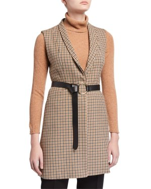 Elie Tahari Savannah Check Vest with Belt | Neiman Marcus