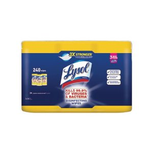 $14.86LYSOL Brand Disinfecting Wipes, 7 x 8, Lemon and Lime Blossom, 80 Wipes/Canister, 3 Canisters/Pack