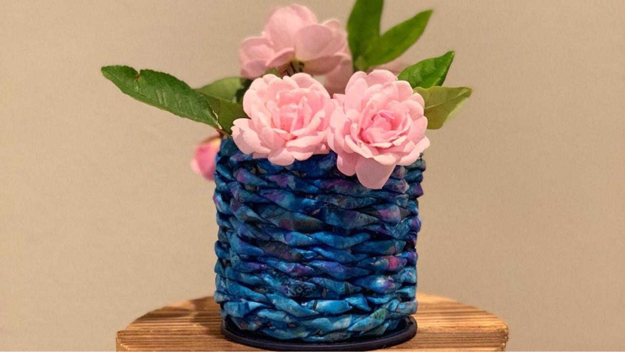 【DIY项目之一】报纸编织小花瓶! 🤗