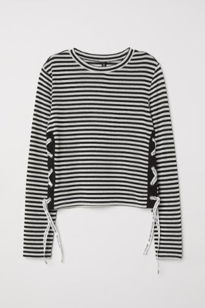 Sweater with Lacing - Black/white striped - | H&M US
