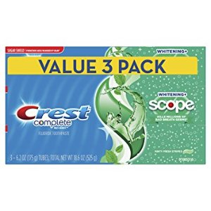 $6.92Crest Complete Whitening Plus Scope Toothpaste - Minty Fresh, Net Wt. 6.2 oz(175 g) (Pack of 3)