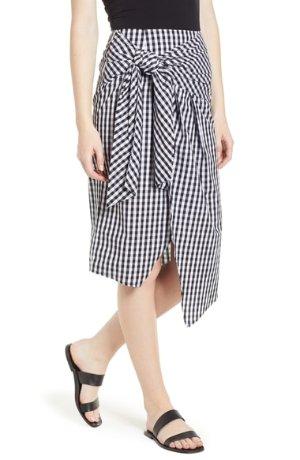 Soprano Gingham Tie Waist Skirt | Nordstrom