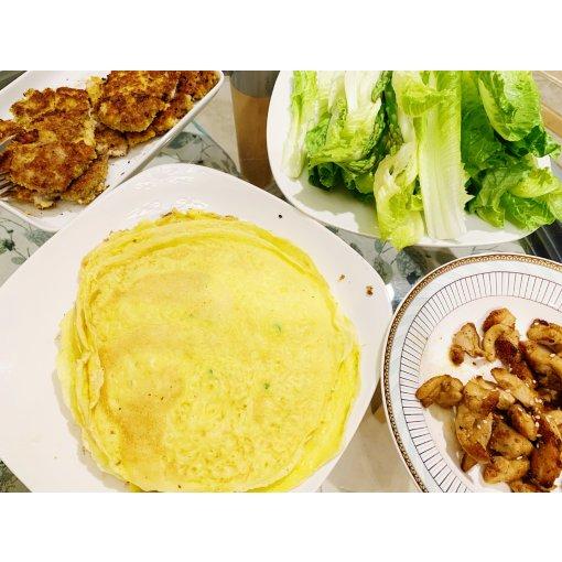 鸡蛋饼卷一切|非常清爽的晚餐|无负担
