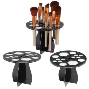 Topeakmart Round Brush Tree Collapsible Air Drying Makeup Brush Rack Holder (Black) - Walmart.com
