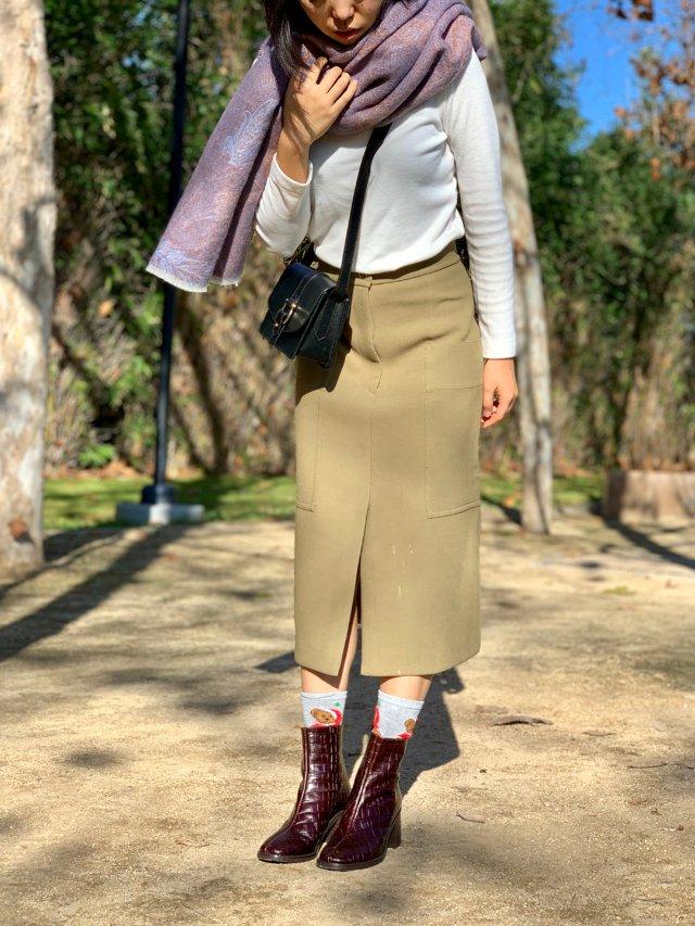 OOTD | 温柔紫和卡其工装裙