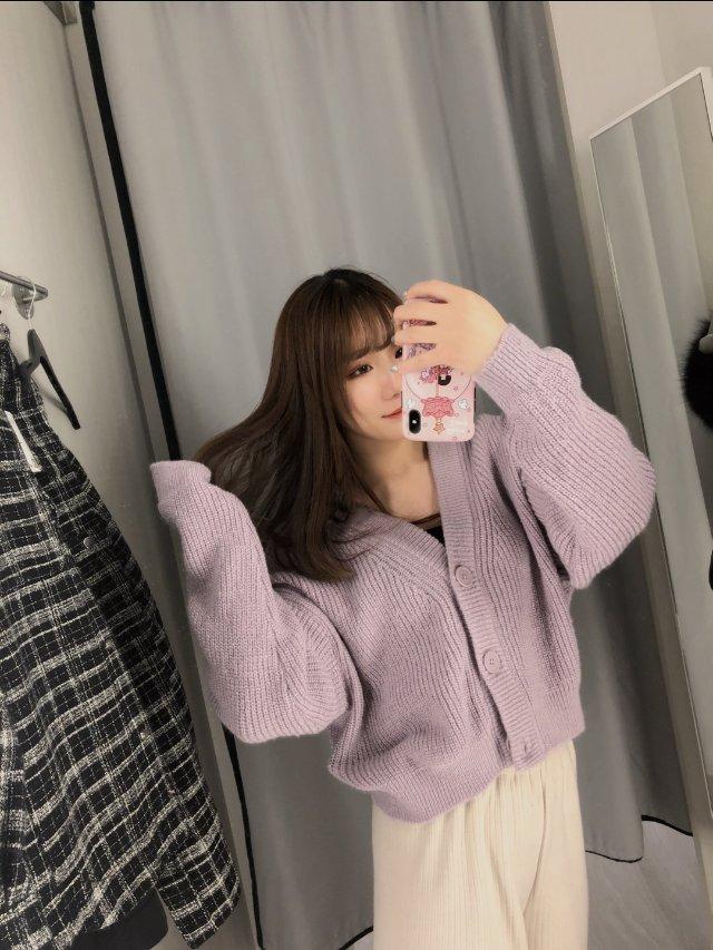 【H&M 试衣间】紫色针织🧶外套 ...