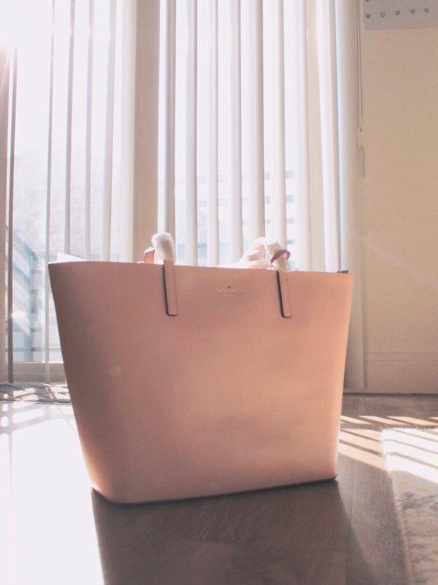 晒单|Kate Spade粉色托特包