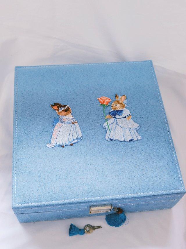 💙 中式首饰盒 可爱又素净的蓝丝绒 🐰
