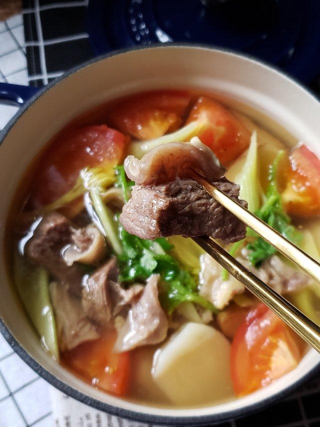 今日食之---土豆西红柿牛腩汤