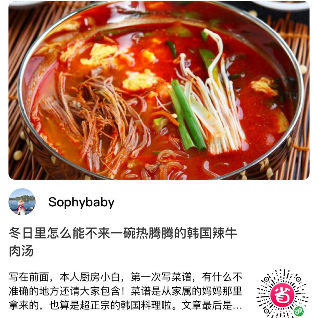 正宗韩国辣牛肉汤|