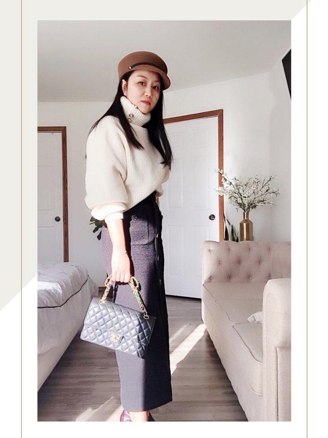 秋日穿搭 |H&M珍珠高领毛衣