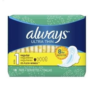 $4.15Always Ultra Thin Regular Pads With Wings, Size 1, Unscented, 18 Count